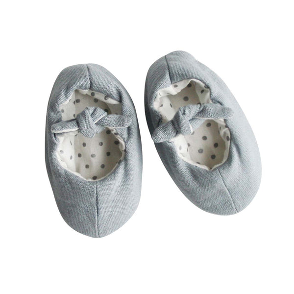 Linen Baby Bootie Slippers- Grey