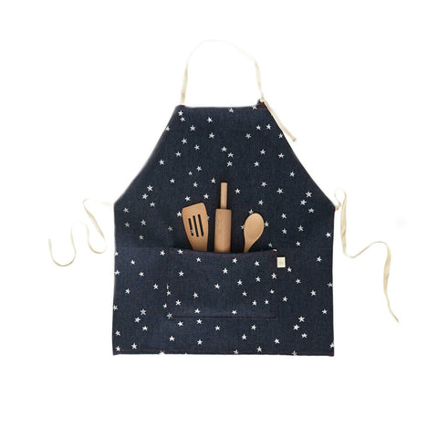 Kids Apron Set- Denim Silver Stars