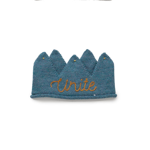 Alpaca Wool Unite Knit Crown- Teal Blue