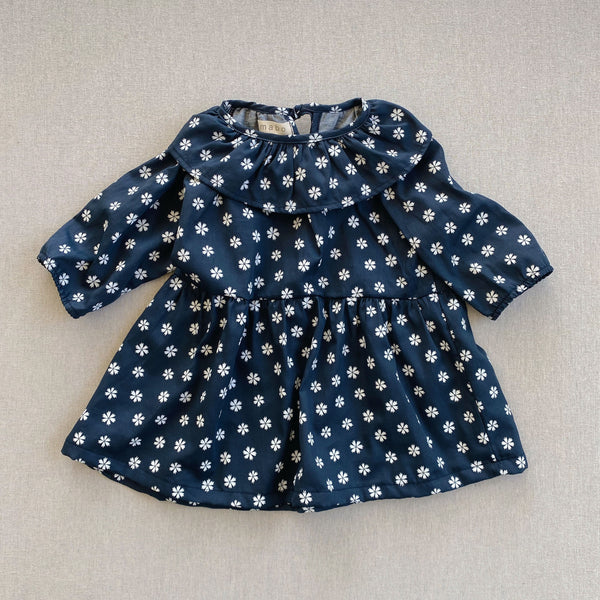 Nonna Ruffle Dress- Navy Saku Floral Print