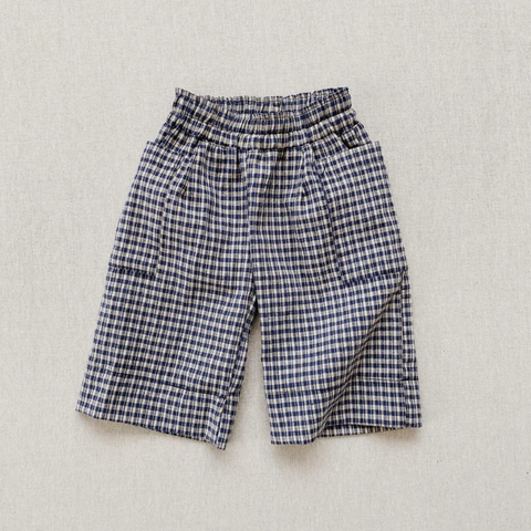 Maude Culotte Pants- Indigo/Cream Plaid