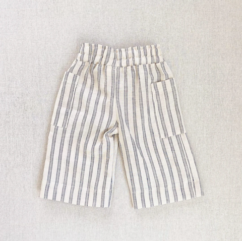 Maude Culotte Pants- Navy/Cream Stripe