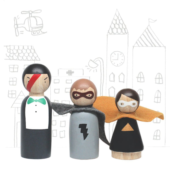 Wooden Peg Dolls: Superheroes Set