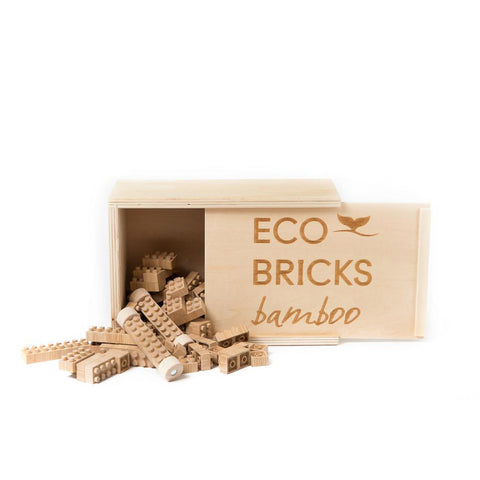 Eco Bricks Wooden Box Set - Bamboo 45 pcs