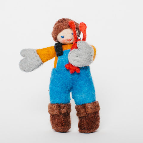Wool Felt: Maine Lobsterman Kid Toy