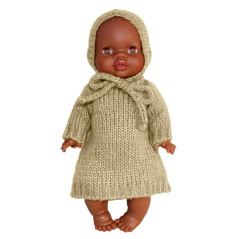 French Baby Doll Outfit: Knit Cream Dress with Bonnet