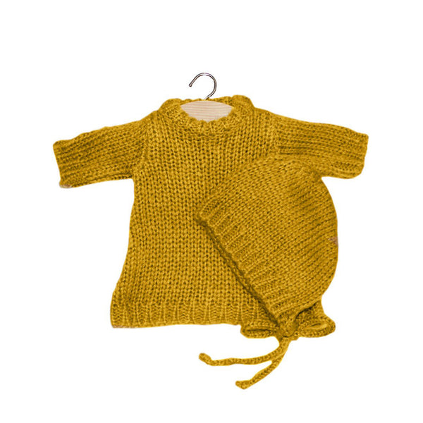 French Baby Doll Outfit: Knit Mustard Dress with Bonnet