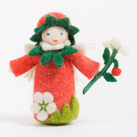 Strawberry Blush Fairy Felt Ornament