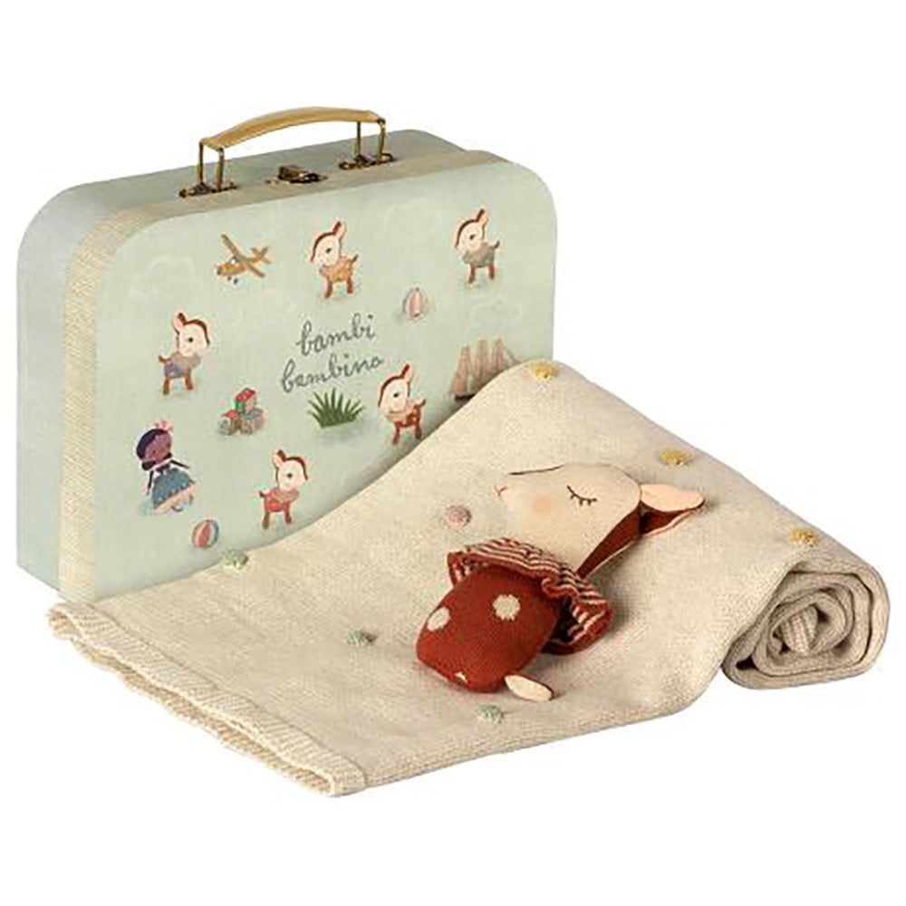 Bambi Deer Rattle and Blanket Suitcase Gift Set