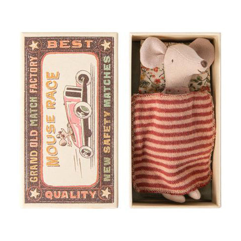 Big sister mouse in matchbox- Burgundy Stripes
