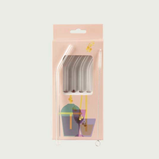 4 Glass Straw Set with Brush