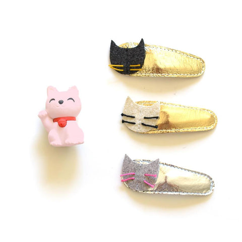 Kitty Clips- White with Gold Leather