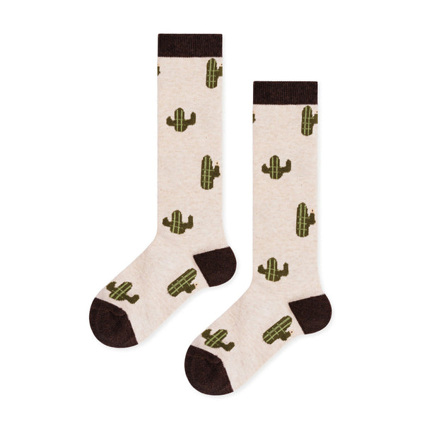 Mini Cacti Knee Hi Socks- Flax