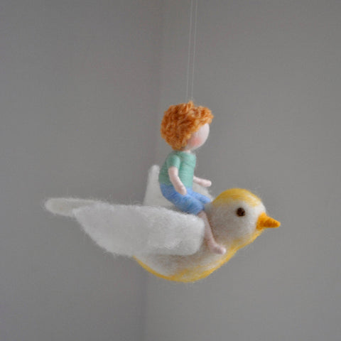 Wool Felt Mobile Hanging- Bird Mobile with Boy