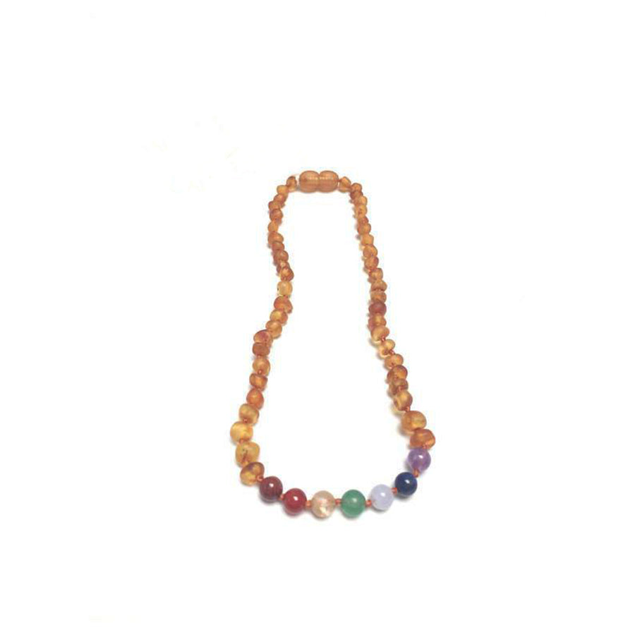 Natural Amber and Chakra Crystal Teething Necklace- Multi Color
