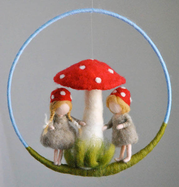 Wool Felt Mobile Hanging- Mushroom Children