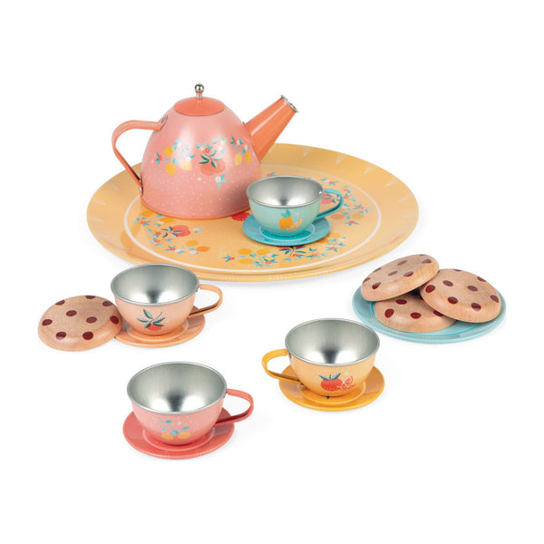 Metal Tea Set with Cookies