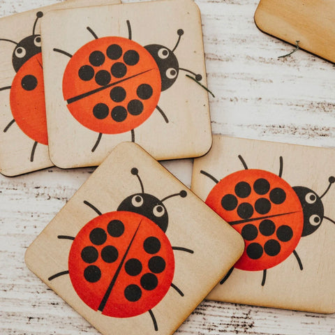 Wooden Nature Anatomy Tile- Ladybug Pictures Set of 12pcs.