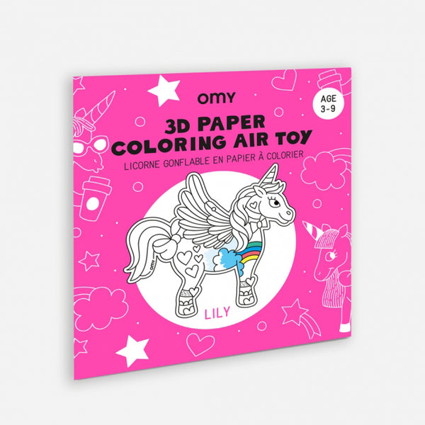 3D Unicorn Coloring Air Toy