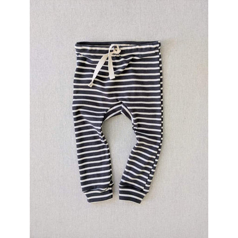 Organic Cotton Striped Nautical Leggings - Charcoal/ Natural Stripes