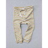 Organic Cotton  Striped Nautical Leggings - Natural/ Chartreuse