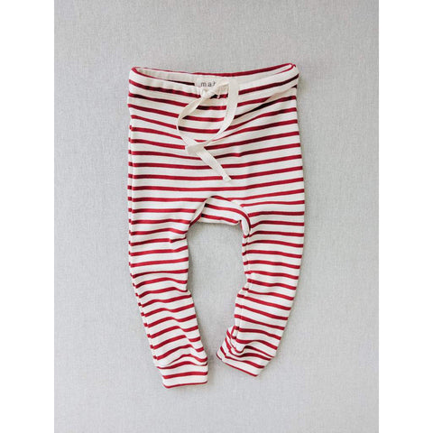 Organic Cotton Striped Nautical Leggings - Natural/ Scarlet