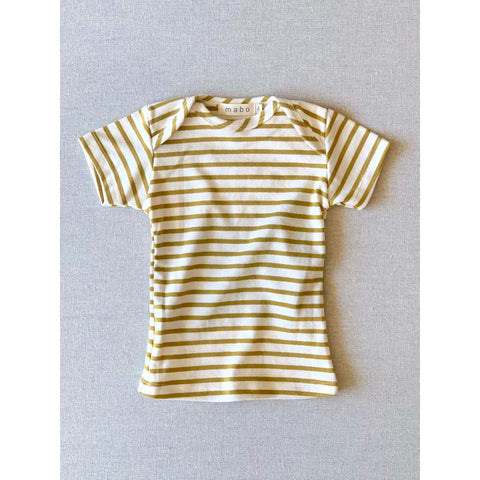 Organic Cotton Lap Tee Short Sleeve Striped Nautical Tee - Natural/Chartreuse