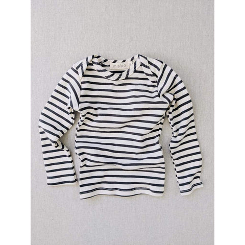 Organic Cotton Lap Tee Long Sleeve Striped Nautical Tee - Natural/ Charcoal