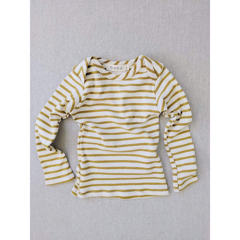 Organic Cotton Lap Tee Long Sleeve Striped Nautical Tee - Natural/ Chartreuse