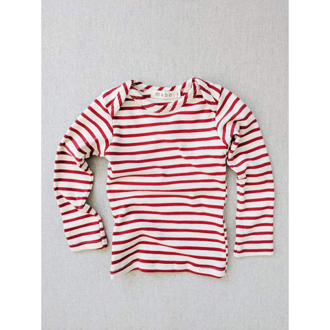Organic Cotton Lap Tee Long Sleeve Striped Nautical Tee - Natural/ Scarlet