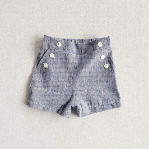 Remi Sailor Shorts- Indigo Slub Cotton
