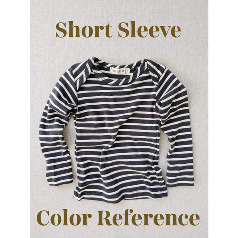 Organic Cotton Lap Tee Short Sleeve Striped Nautical Tee - Charcoal/Natural Stripes