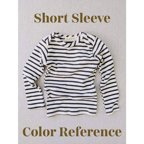 Organic Cotton Lap Tee Short Sleeve Striped Nautical Tee - Natural/Charcoal