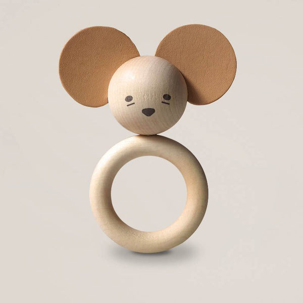 Wooden Leather Mouse Teether