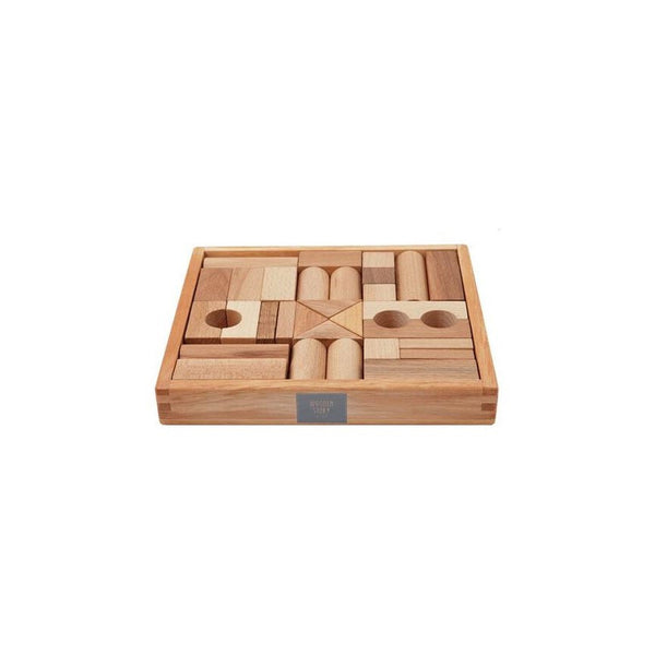 Wooden Story Natural Building Blocks in Tray- 30pcs