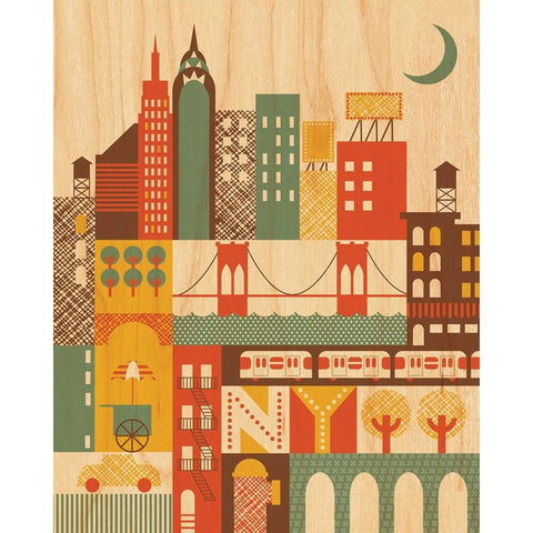 New York Wood Wall Print