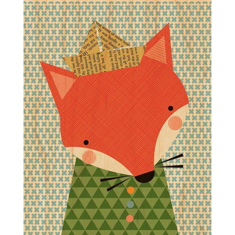 Small Shy Fox Wood Wall Print
