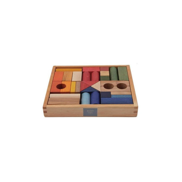 Wooden Story Rainbow Building Blocks in Tray- 30pcs
