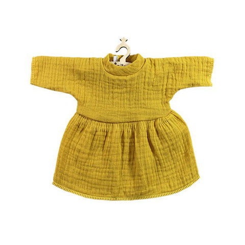 French Baby Doll Outfit: Cotton Gauze Mustard Dress