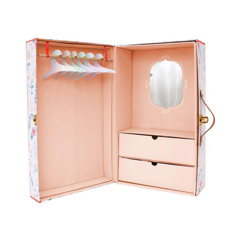 Floral Wardrobe Doll Closet Suitcase Set