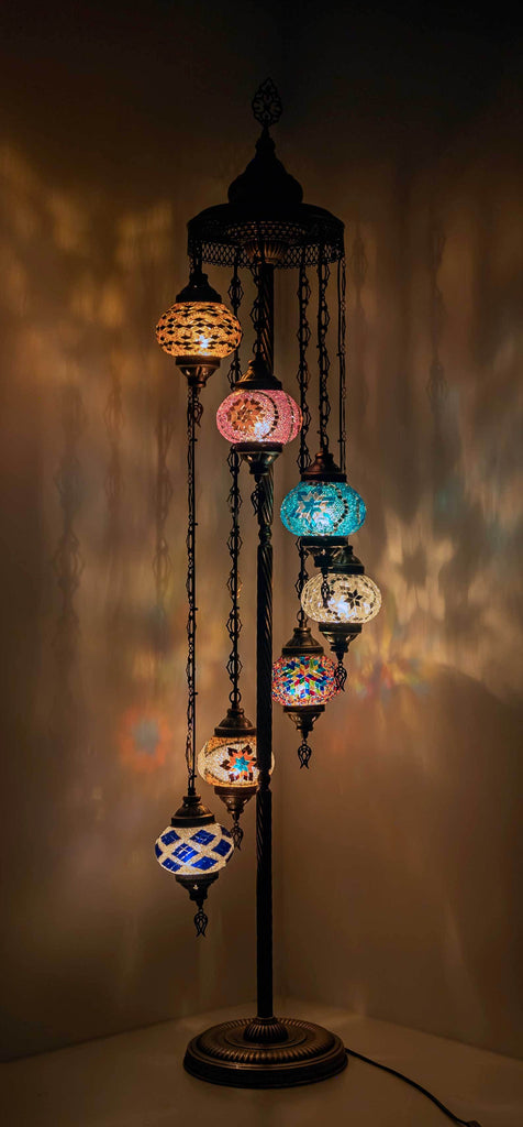 *HANDMADE* MOSAIC 7 GLOBE LAMP DIFFERENT COLOR ARRANGEMENTS
