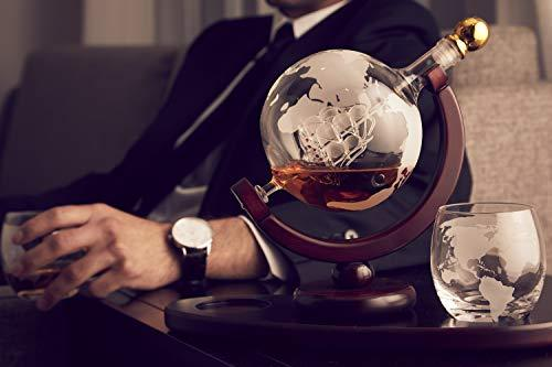 Whiskey Decanter Globe Set with 2 Etched Globe Whisky Glasses