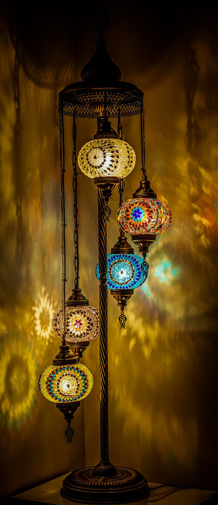 Wishicious Handmade Turkish Moroccan Mosaic Globe Floor Lamp made for US - 5 Globes