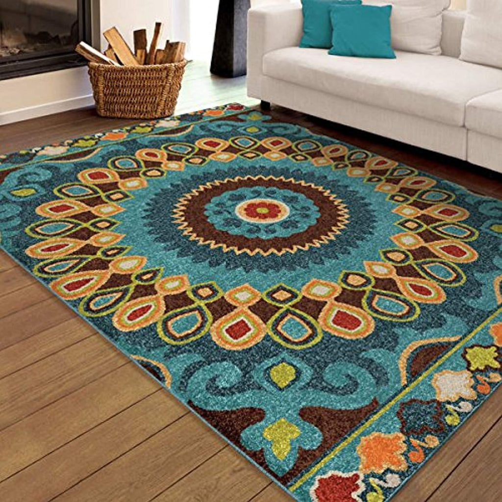 Contemporary Bohemian Indoor/Outdoor Stain Resistant Rug