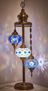 *HANDMADE* MOSAIC 3 GLOBE TABLE LAMP LIMITED EDITION