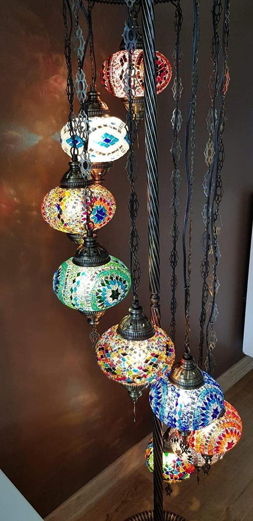*HANDMADE* MOSAIC 9 GLOBE LAMP (FREE & FAST EXPEDITED 5 DAY SHIPPING)