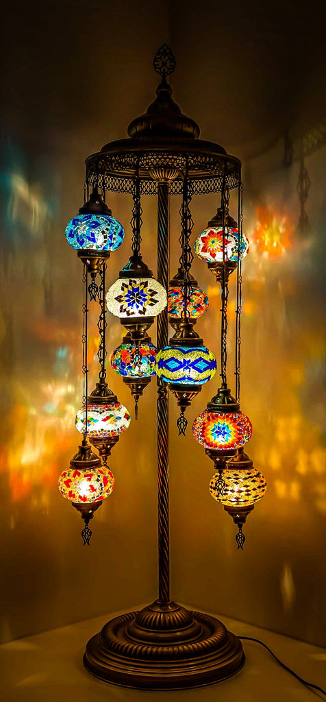 HANDMADE MOSAIC 10 GLOBE LAMP (FAST & FREE 5 DAY EXPEDITED SHIPPING)