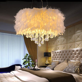 White Feather Crystal Chandelier