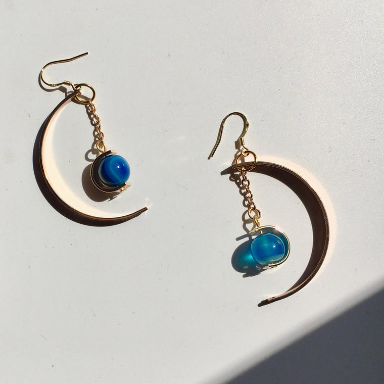 Half Moon Blue Agate Earrings