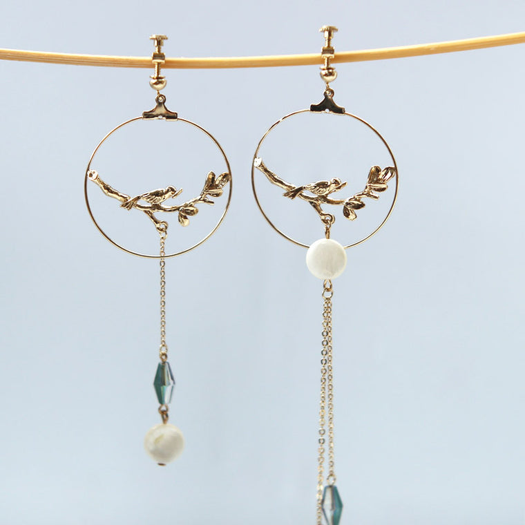 Bird Cage Asymmetric Earrings
